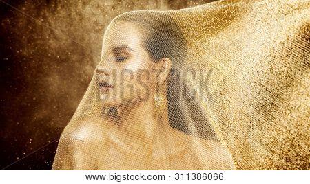 Fashion Model Gold Veil Beauty, Woman Under Golden Cloth Net, Beautiful Girl Artistic Portrait