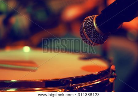 Fragment Of A Snare Drum And Microphone For Sound Amplification During The Concert In A Bar In The E