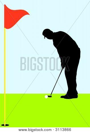 Pro Golfer Putting Golf Ball On Green