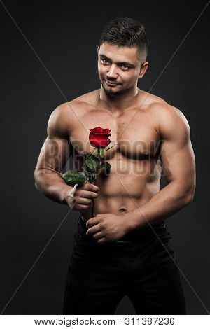 Sexy Athlete Man With Rose Flower, Athletic Boy With Muscular Naked Body Studio Portrait