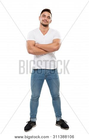 Man Full Body Portrait Isolated Over White Background, Boy In T Shirt And Jeans, Arms Folded