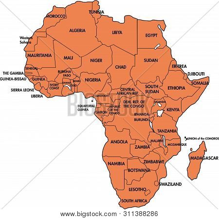 Highly Detailed Political Map Of Continent, Located On The African Continental Plate With All Countr