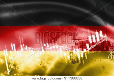 Germany Flag, Stock Market, Exchange Economy And Trade, Oil Production, Container Ship In Export And