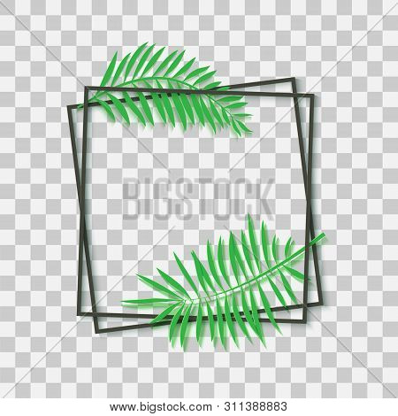 Paper Cut Black Frame With Tropical Leaves. Two Dark Inclined Square Frames Lie One On Another. Vect