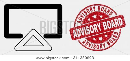 Vector Outline Display Pictogram And Advisory Board Seal. Blue Round Distress Seal With Advisory Boa