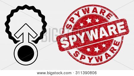 Vector Line Insemination Pictogram And Spyware Seal Stamp. Blue Round Textured Seal Stamp With Spywa