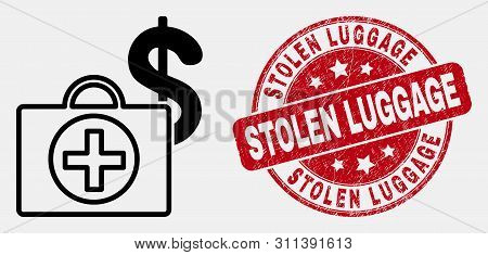 Vector Outline Financial Medical Case Icon And Stolen Luggage Seal. Blue Rounded Distress Seal With