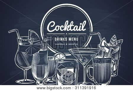 Sketch Cocktail Background. Hand Drawn Alcohol Cocktails Drinks Bar Menu, Cold Drinking Restaurant B