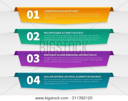 Tabbed Labels. Color Infographic Banners Leaflet Template, Infographics Numbered Ribbon Tags With Te