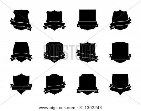 Black Shield Labels With Ribbons. Heraldic Royal Blazon Badges. Medieval Insignia Shields, Pennants.
