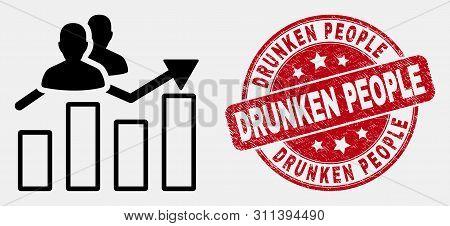 Vector Stroke Visitors Bar Chart Pictogram And Drunken People Watermark. Blue Round Distress Waterma