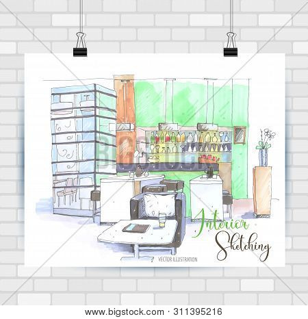 Interior Scetching. Hand Drawn Illustration. Vector Background.