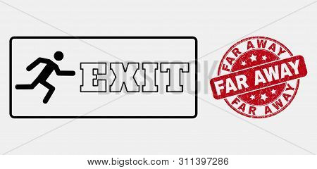 Vector Line Emergency Exit Pictogram And Far Away Seal Stamp. Blue Rounded Textured Seal Stamp With