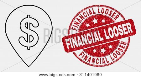 Vector Stroke Dollar Map Marker Pictogram And Financial Looser Seal. Blue Rounded Scratched Seal Wit