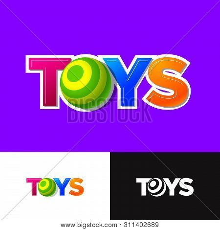 Toys Logo. Baby  Online Shop Emblem. Letter O Like A Baby Ball Or Sphere. Kids Logo On Different Bac