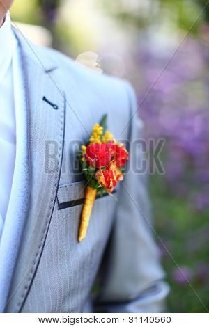 Beautiful Wedding Boutonniere At Groom's Costume
