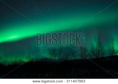 Awesome Display Aurora Borealis Northern Lights In Norway And Finland