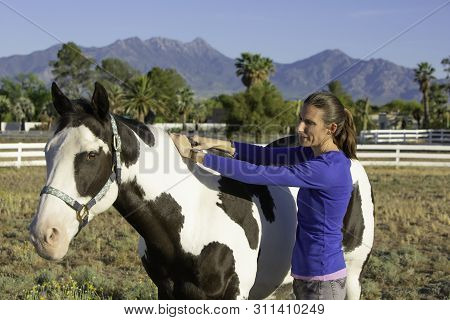 Woman Performs Equine Myofascial Release Technique On The Crest