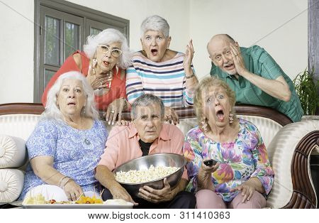 Six Upset Senior Friends Reacting To Television