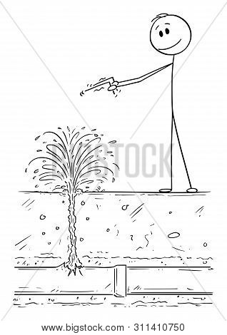 Vector Cartoon Stick Figure Drawing Conceptual Illustration Of Diviner Or Dowser Searching For Water