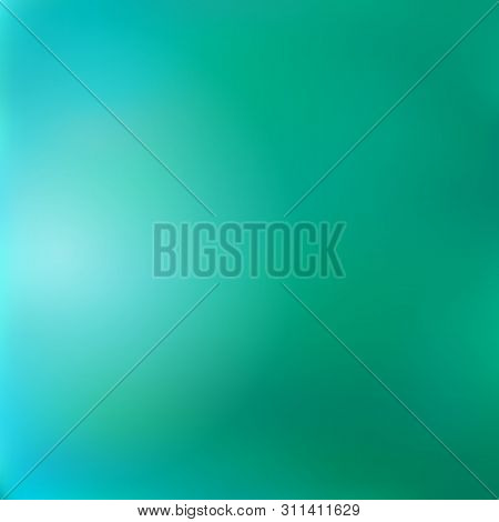 Blurred Gradient Emerald-turquoise Background, Imitates The Surface Of The Lake Water. Excellent As