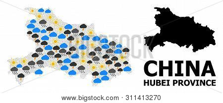 Climate Collage Vector Map Of Hubei Province. Geographic Collage Map Of Hubei Province Is Done With