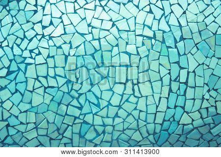 Broken Tiles Mosaic Seamless Pattern. Blue Dark Tile Wall High Resolution Photo Or Brick Seamless Wi