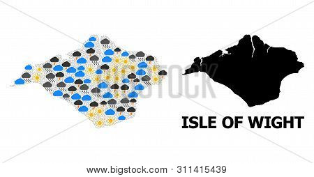 Weather Collage Vector Map Of Isle Of Wight. Geographic Collage Map Of Isle Of Wight Is Combined Fro