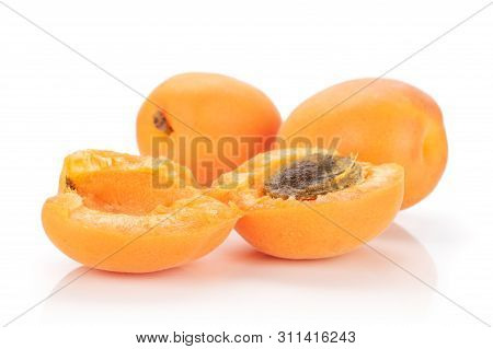 Group Of Two Whole Two Halves Of Meaty Fresh Deep Orange Apricot With A Stone Isolated On White Back