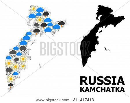 Weather Collage Vector Map Of Kamchatka Peninsula. Geographic Concept Map Of Kamchatka Peninsula Is