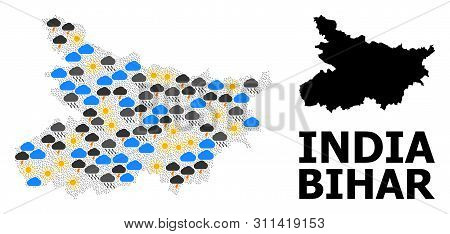 Weather Mosaic Vector Map Of Bihar State. Geographic Composition Map Of Bihar State Is Done With Ran