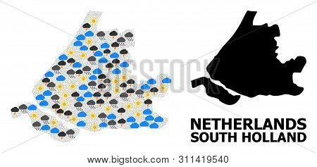 Weather Mosaic Vector Map Of South Holland. Geographic Mosaic Map Of South Holland Is Designed From