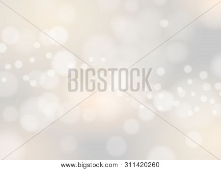 White Soft Light Background. Fireworks Blurred Lighting Vector Background, Candlelight Bokeh Blur Il