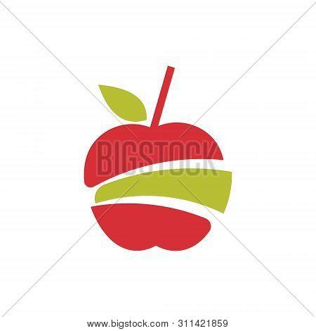 Sliced Apple Cut Juice Pulp Extract Fruit Logo
