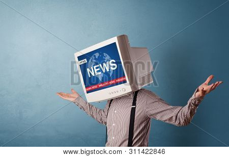 Young person with monitor head, breaking news concept
