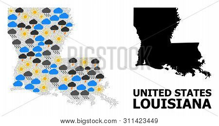 Climate Mosaic Vector Map Of Louisiana State. Geographic Concept Map Of Louisiana State Is Construct