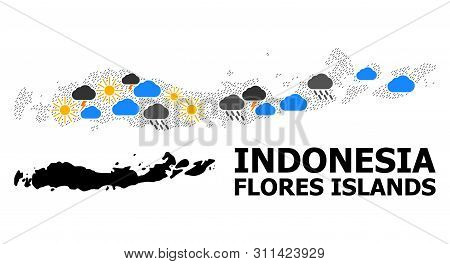 Climate Collage Vector Map Of Indonesia - Flores Islands. Geographic Collage Map Of Indonesia - Flor