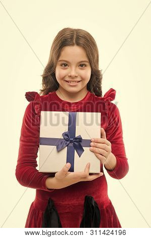 Every Girl Dream About Such Surprise. Birthday Girl Carry Present With Ribbon Bow. Art Of Making Gif