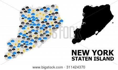 Climate Mosaic Vector Map Of Staten Island. Geographic Mosaic Map Of Staten Island Is Organized From