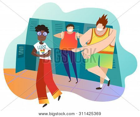 Teenagers Mocking Female Classmate At School. Afro-american Girl Is Lesbian. Concept Of Infringement