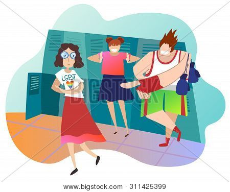 Teenagers Mocking Female Classmate At School. Caucasian Girl Is Lesbian. Concept Of Infringement Of