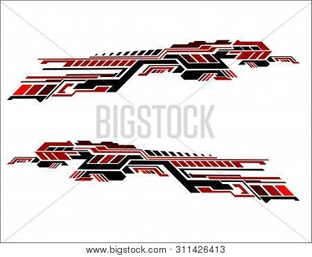 Vinyls Sticker Set Decals Red For Car Truck Mini Bus Modify Motorcycle. Racing Vehicle Graphics Kit