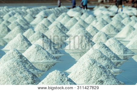 Sea Salt Farm In Thailand. Organic Sea Salt. Evaporation And Crystallization Of Sea Water. Raw Mater