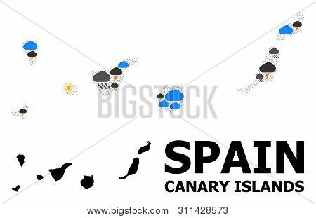 Climate Collage Vector Map Of Canary Islands. Geographic Collage Map Of Canary Islands Is Combined W