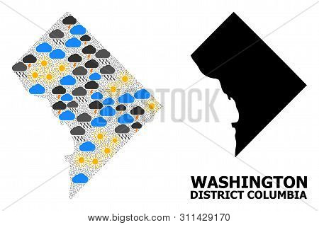 Climate Mosaic Vector Map Of District Columbia. Geographic Composition Map Of District Columbia Is O
