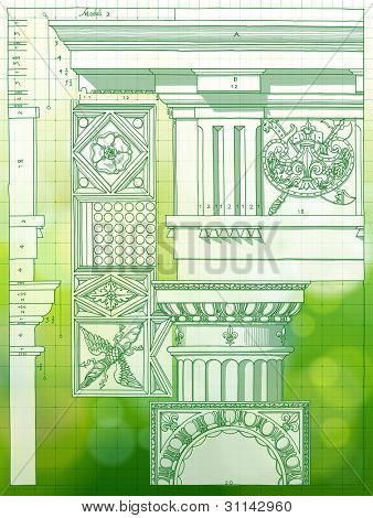 Hand draw sketch doric architectural order & green bokeh background. Bitmap copy my vector