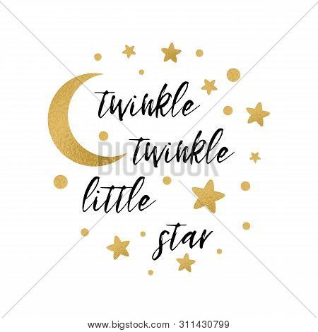 Twinkle Twinkle Little Star Text With Gold Star And Moon For Girl Baby Shower Card Template