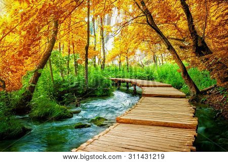 Beautiful Wooden Path In Plitvice Lake, Croatia.