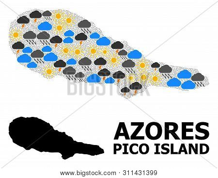 Weather Mosaic Vector Map Of Pico Island. Geographic Mosaic Map Of Pico Island Is Done From Random R