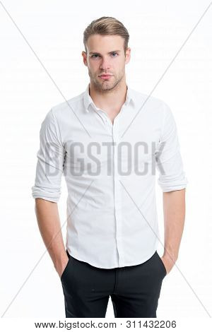 Guy Handsome Office Worker. Working Formal Dress Code. Menswear Formal Style. Clerical And Middle Ch